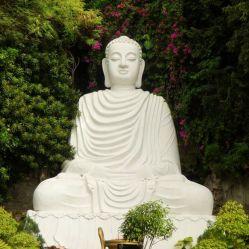 رخام حجري طبيعي كبير يجلس تمثال بوذا نحت لبارك الديكور