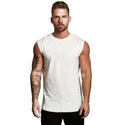 주문 로고 도매가 100%Cotton Mens 운동복 소매 없는 적당 백색 까만 색깔 탱크탑