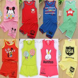 Mischungs-Farben-Kind-Shirt-Klagen ohne Hülsen-Aktien (H19-9)