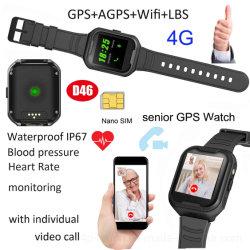 Idosos 4G chamada de vídeo à prova de rastreamento inteligente Ver O GPS com freqüência cardíaca a pressão arterial D46