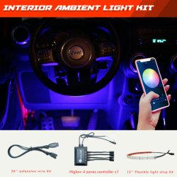 """Higlowのコンボの4:12 """"内部車のためのLEDライトストリップ4PCS/Set + Bluetoothのコントローラ"""