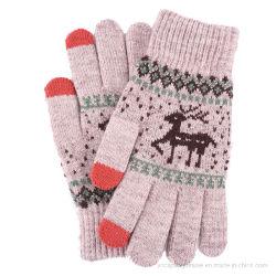 Kundenspezifische Form-Acrylwinter strickte Damenmagischen Knit-Handschuh