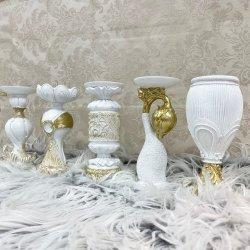 Hochzeitsgeschenke Royal Court Antik Kunstharz Dekorative Gold Modern Roman Column Candle Holders Luxus