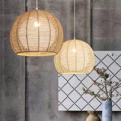 Tecelagem de vime Bambu Lâmpada pendente para interior Home Luminárias (WH-WP-19)