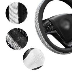 모조 다이아몬드 수정같은 핸들은 PU 가죽 차 조타 바퀴 프로텍터 Anti-Slip 차 내부 부속품을 덮는다