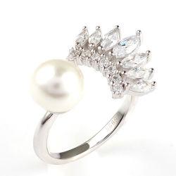 Sterlingsilber-Diamant-Schmucksache-Wimper-Ring der Form-Schmucksache-925 mit Perle