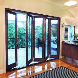 Fuera de la apertura de plegado de lujo Anti-Water marco de la parrilla de aleación de aluminio puertas plegables de cristal