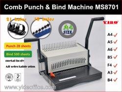 Um Pesado de Base4 Pente de alumínio máquina de Encadernação Livro Pente Binder Strip 10 Furos A3 B4 F4 (MS8701)