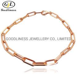 Fashion Sterling Silver jóias de mulheres a cadeia de clipe de papel bracelete simples