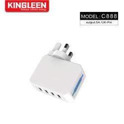 5A 4 ports USB Chargeur mural avec fiche britannique et de la technologie Smart chargeur de voyage pour téléphone mobile