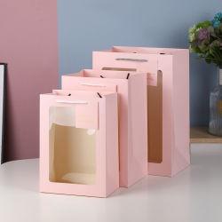 Новый дизайн высокого качества люкс состоят из переработанных Custom Печать логотипа магазинов упаковки бумажных мешков для пыли, подарочный Мешки бумажные с ПВХ прозрачное окно