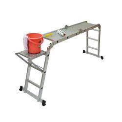 15,4 ft polivalentes para serviço pesado da escada de extensão de dobragem de alumínio com dobradiças de travamento de segurança 330lb Capacidade (novo tapete antiderrapante e Rodas para Gratuito)
