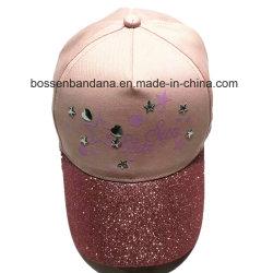 Impresión de logotipo personalizado OEM Faux brillantes Joyas de sarga de algodón niña Rosa Gorra de béisbol