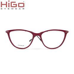 Nouvelle arrivée Cat Eye forme TR90 lunettes cadre Temple de titane en stock