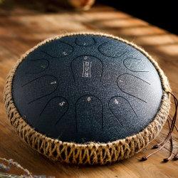Tambor da Lingueta de ligas de aço do tambor de pendurar 12,5 POLEGADA 11 sons de instrumentos de percussão Handpan com tambores maços Maleta para meditação Zazen Ioga Cicatrização de som