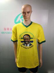Рекламные желтый обычный хлопок настроенные в горловину T футболка печать T футболки на заказ