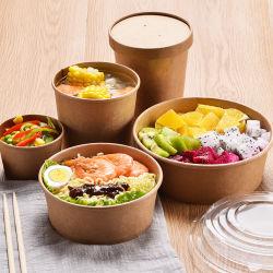 カスタムDisposable TakeクラフトWhite Paper Salad Cake Bowl Lidsの1 Compartment Fast Food Container