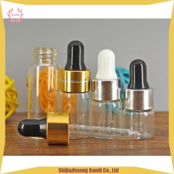 Wesentliche bernsteinfarbige Glasflasche des Öl-Absinken-3ml mit Aluminiumschutzkappe