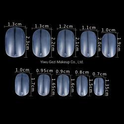 Caja redonda de 500PCS corto la cabeza cubierta completa claro Blanco Natural Fake uñas falsos Consejos