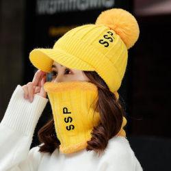 Hat Winter Warm der Dame mit Samt-Woolen Hut-Herbst-Winter-Stutzen-Schellfisch-zweiteiliger gestrickter Schutzkappe