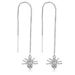 Nouvelle couleur argent Rhinestone Crystal Long Tassel boucles pour les femmes chute de mariée boucles d'oreilles Pendantes Brincos bijoux de mariage