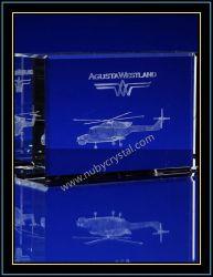 Cristal gravé au laser 3D'hélicoptère pour Airforce Cadeau souvenir