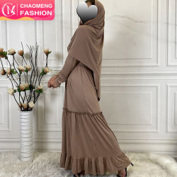 Nova chegada Fechar Abaya Elásticas Hijab Jersey vestir mangas longas Maxi Vestidos Malásia Turquia Mulheres Vestuário Islâmico Lenço Longo