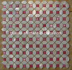 Weißes und rotes Wand-Shell-Mosaik (M-QF18) für Wand-Dekoration
