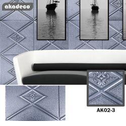 Akadecoは工場すべての種類の製品の室内装飾浮彫りにされたデザインハイエンド3D付着力のステッカー3Dの壁ペーパーを販売する