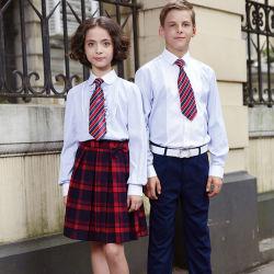 Uniforme bianca all'ingrosso della camicia del banco del cotone per gli allievi