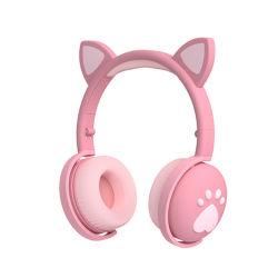 بنات الأطفال هدية لطيف ضوء LED بانو سماعة أذن من Cat سماعات رأس لاسلكية للصوت الجهير الاستريو HIFi