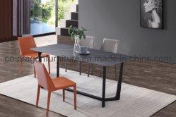 2020 Aço Venda quente mesa de jantar a Tinta preta com pedra sinterizado topo