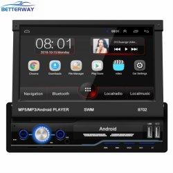 Betterway 보편적인 차 MP5 선수 1명의 DIN 인조 인간 전화 차 다중 매체 선수 철회 가능한 전기 용량 접촉 스크린 RDS 7inch GPS 항법 DVD MP5 선수