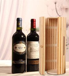 De unieke Kabel van de Zijde van het Geval van de Gift van de Doos van de Wijn van het Bamboe van de Cilinder Elegante Verpakkende Rode