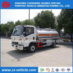 Sinotruk ligeros HOWO 4X2 5000L el depósito de combustible de aceite de 5m3 de la carretilla elevadora de reabastecimiento de combustible