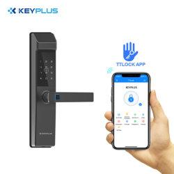 قفل أمان إلكتروني بتقنية WiFi ببصمة الإصبع قفل الباب الذكي باستخدام كلمة المرور وبطاقة الهوية والمفتاح