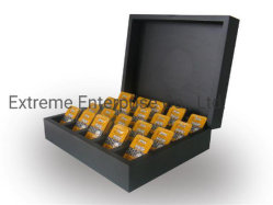 De madera pintado de negro Water-Base bolsitas de té Caja de regalo