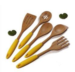 Haute qualité Non Stick ustensiles en bois, poignée en silicone Ustensiles de cuisine, du bois