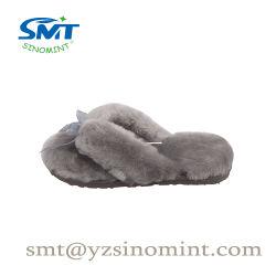 Großhandelsdame-flockige Wolle-Plüsch-Flipflop-Innenhefterzufuhren