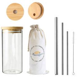 12mm saca de café em vidro basculante da tampa com bambu Ecológico