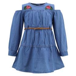 제조 주문 로고 싼 아이들 우연한 최신 최신 작풍 치마 면 꽃 파란 섹시한 데님 진 긴 소매 소녀를 위한 소형 셔츠 복장 가을