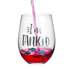 20 Oz の Stemless 水晶おかしいワインガラス、かわいいサヨイングスが付いている新型ガラス