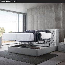 Fabricante de muebles de casa moderna de Tela de lujo en la caja de almacenamiento conjunto de muebles de dormitorio cama
