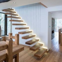 Prima o corrimão de vidro temperado de segurança passo Madeira escadaria flutuante