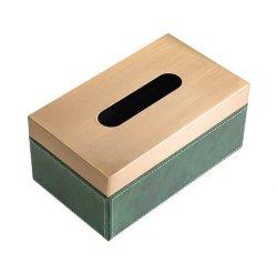 Boîte de tissus de fer carré en cuir