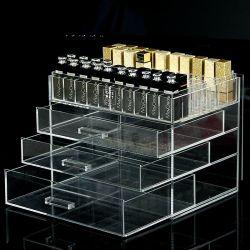 Mayorista de fábrica del compartimento de acrílico transparente personalizado de metacrilato Organizador de la paleta de maquillaje y caja de almacenamiento con 3 cajones para esmalte de uñas pintalabios