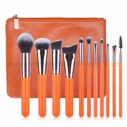 À la qualité de jeu de brosses en nylon orange maquillage sèche Foundation Mélange poudre eye-liner outil pinceau avec sac