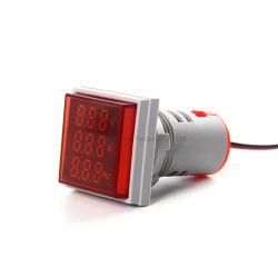 22mm Mini Square Indicateur LED ampèremètre voltmètre signal de fréquence rouge clair