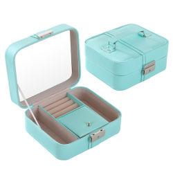 컨트라스트 스티칭 보관 상자 귀금속 포장 상자 가정용 악세사리 거울 디자인