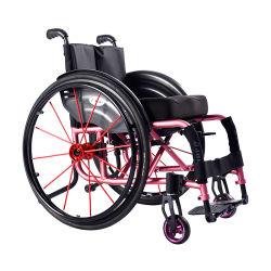 مقعد يدوي ذو عجلات للرياضة قابل للطي من الألومنيوم صغير الحجم